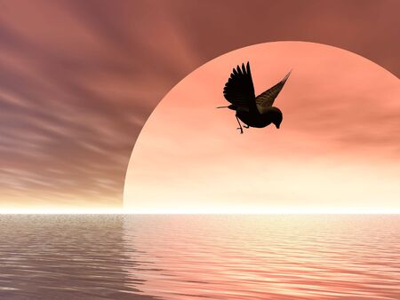 Illustrated song bird flying over the sea at sunrise