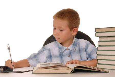 Young boy studying