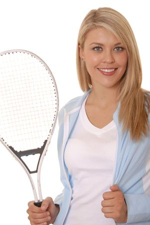 Lovely girl with tennis racket