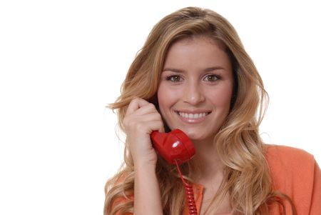 Lovely girl on standard telephone Banco de Imagens