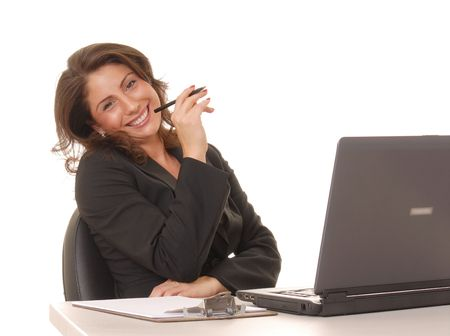 Lovely girl working on laptop