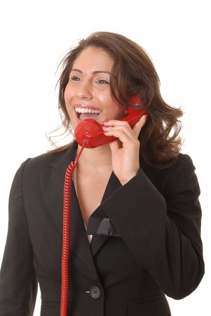 Lovely latina girl on standard telephone Stock Photo - 509708