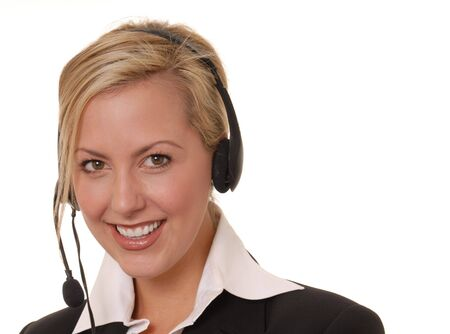telephonist: Beautiful and sexy blond business woman with headset