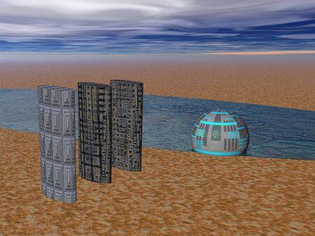 walk away: Illustrated desert power generator and buildings