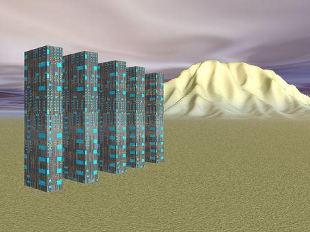 walk away: Illustrated futuristic desert living Stock Photo