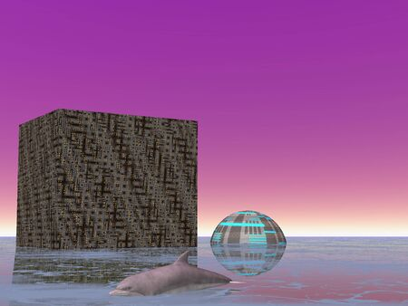 Illustrated single dolphin swimming by futuristic buildings