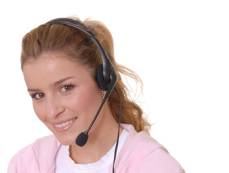 telephonist: Beautiful girl wearing headset