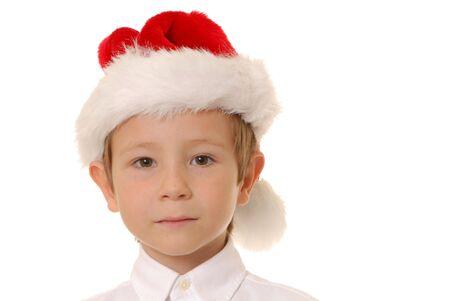 handsom: Esposas muchacho joven que llevaba un sombrero de Santa Claus