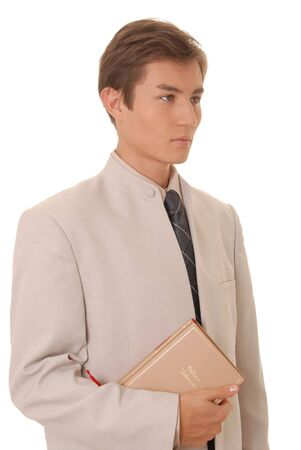 Handsome young business student with a book Stock Photo - 865149