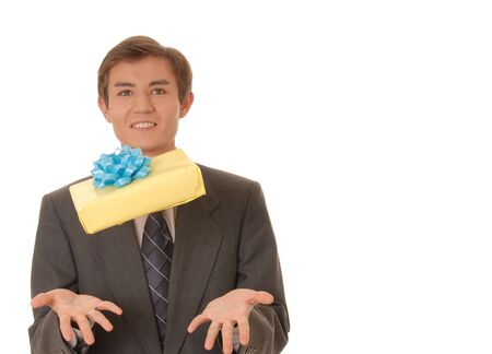 Handsome young man carrying a wrapped gift