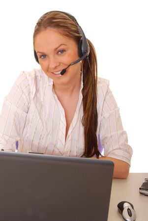 Lovely brunette business woman working at computer laptop Stock Photo - 884278