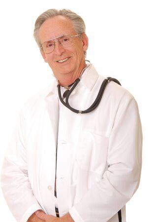 Senior doctor physician isolated on white Stock Photo - 884284