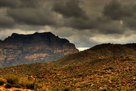 Dramatic desert mountains with a storm approaching Banco de Imagens - 891884