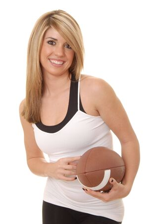 Lovely isolated blond lady with a football  Stock Photo