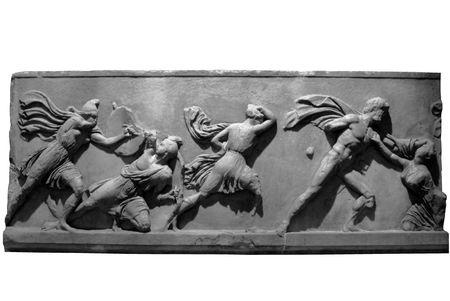 plaster of paris: Section of the Elgin Marbles depicting battling ancient greek warriors