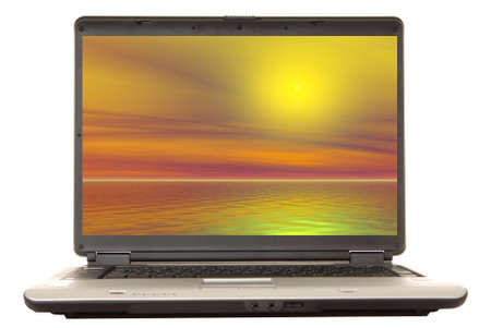 rendered: Laptop computer with a rendered sunset on the monitor  Stock Photo