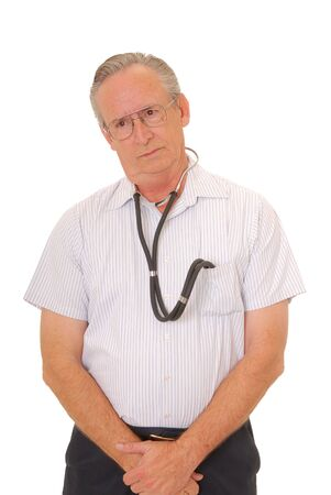 resident: Senior doctor physician isolated on white with stethoscope