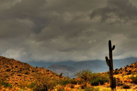 Dramatic desert mountains with a storm approaching Banco de Imagens - 1320991