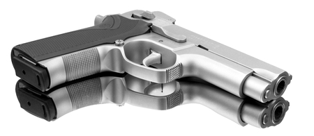 Fine automatic pistol with a perfect reflection Stock Photo