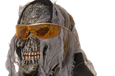 horrify: Young boy in a ghoul halloween costume wearing sunglasses