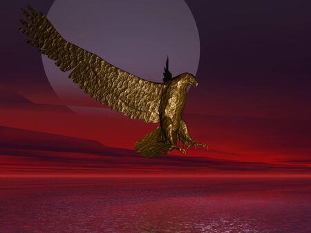 alien landscape: 3D illustrazione di un'aquila su un paesaggio alieno Archivio Fotografico