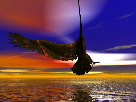 eagle flying: 3D illustration of an eagle over an alien landscape
