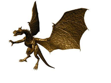 Illustrated bronze dragon over white