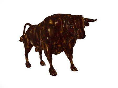 bois �b�ne: 3D illustration d'un taureau d'�b�ne sur blanc
