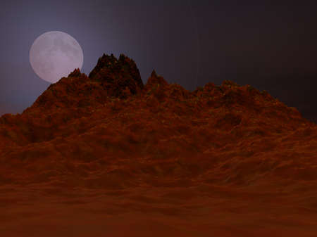 digital world: Illustrated Alien planet with moon above desert mountains Stock Photo