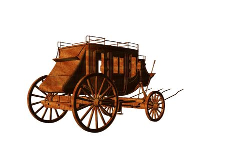 Isolated 3d illustration of an old west stagecoach Stok Fotoğraf - 1986794