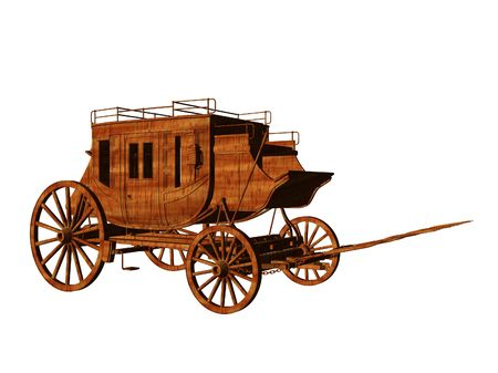 southwest: Isolated 3d illustration of an old west stagecoach