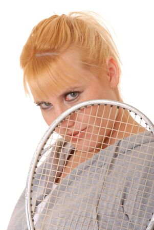 Lovely blond girl with a racket ball racket  photo