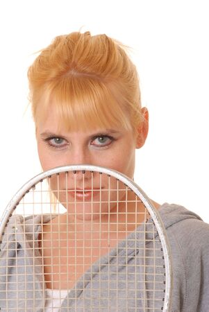 Lovely blond girl with a racket ball racket Stock Photo - 2242852