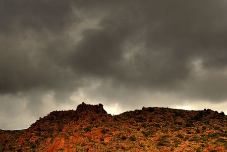 Dramatic desert mountains with a storm approaching