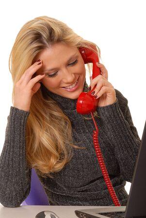 Ordenador port�til con una preciosa rubia en la pantalla  Foto de archivo - 2550953