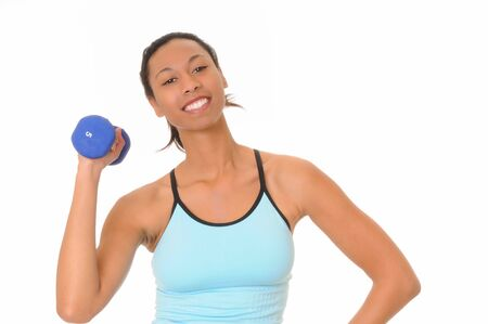 Beautiful young african american girl doing a fitness workout with weights Stock Photo - 3025853
