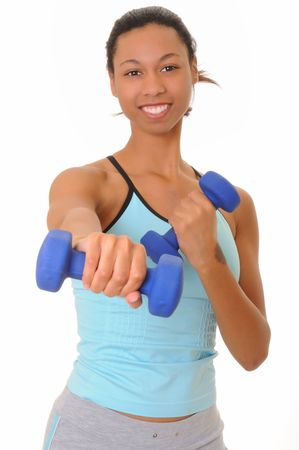Beautiful young african american girl doing a fitness workout with weights Stock Photo - 3025855