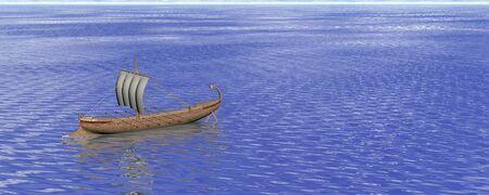 trireme: Illustration of an ancient Greek ship panorama Stock Photo