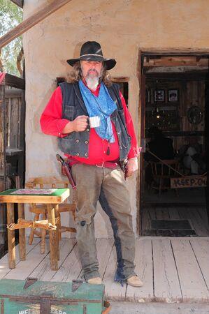 Goldfield, Arizona USA - January 16:  Unidentified Actor portraying Arizona gunfighter January 16, 2011 in ghost town Goldfield, Arizona USA