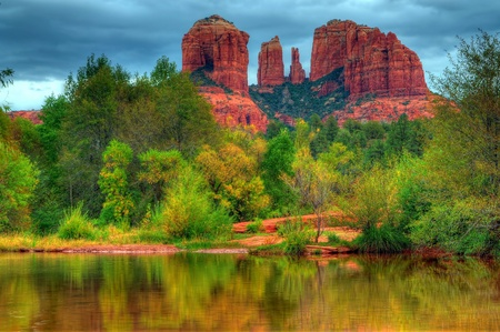 arizona sunset: Storm over cathedral rock Sedona Arizona