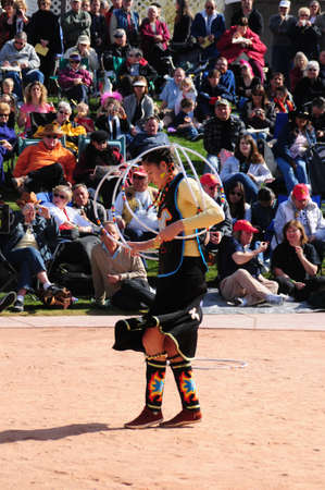 heard: Phoenix, Arizona USA - February 6: Native American dancer competing in the 21st annual Heard Museum WORLD CHAMPIONSHIP Hoop Dance Contest. Competitors from Native American nations ranged from Canada and locations throughout the USA on this annual event Fe