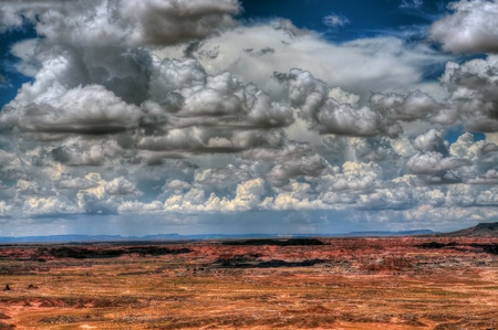 monsoon clouds: The painted desert in North East Arizona Stock Photo