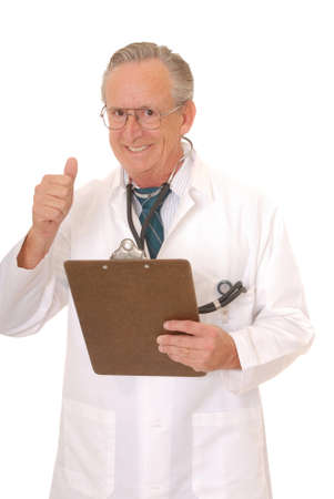 Senior doctor physician isolated on white with stethoscope and clip board photo
