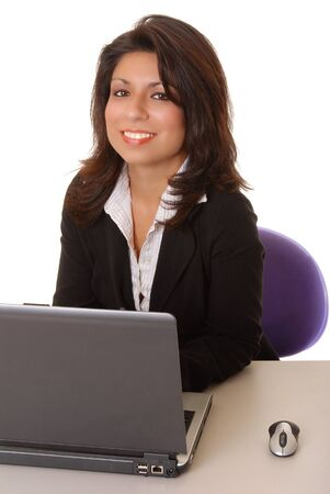 Lovely isolated latina business woman working hard