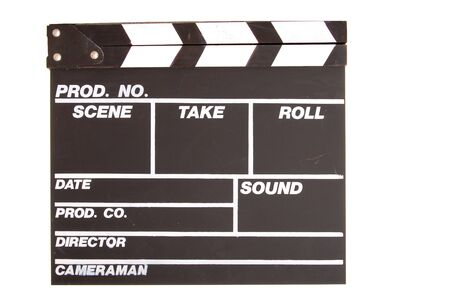 Traditional Film and Cinema clapboard isolated over white