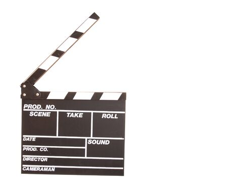 flick: Traditional Film and Cinema clapboard isolated over white