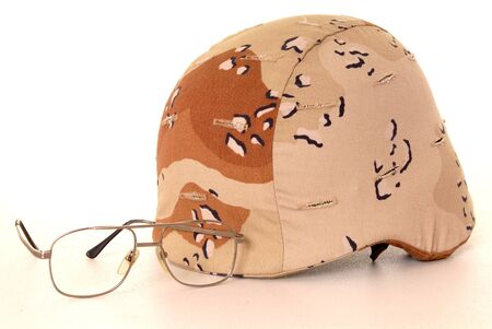 United States army helmet isolated over white with eye glasses Stock Photo - 8933028