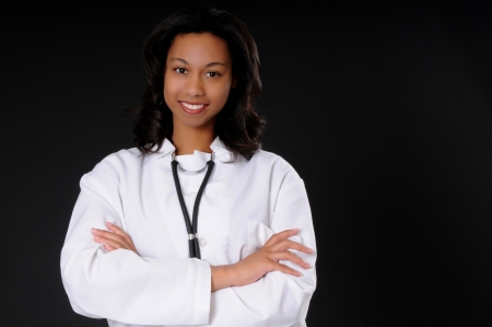 Lovely young and beautiful black Doctor or Nurse  Stock Photo