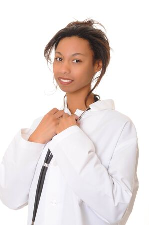 Lovely young and beautiful black Doctor or Nurse  photo