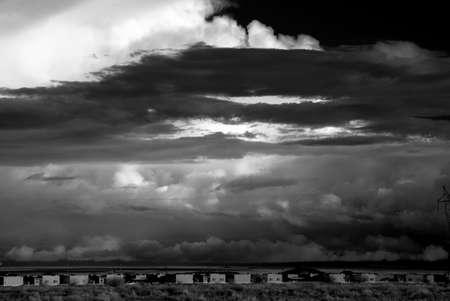 chaos: Monochrome Desert storm over the southwestern desert and mountains